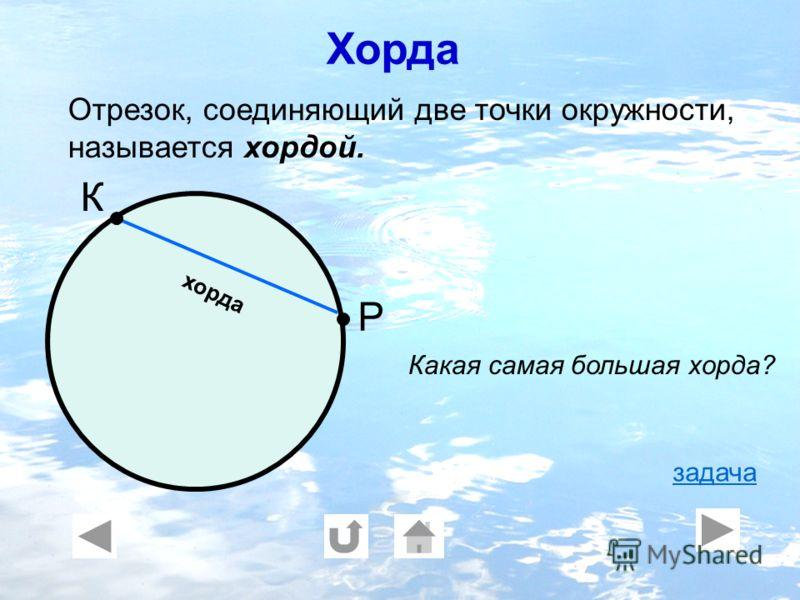 хорда К Р Отрезок, соединяющий две точки окружности, называется хордой. Какая самая большая хорда? задача Хорда