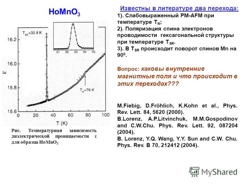 Рис. Температурная зависимость диэлектрической проницаемости ε для образца HoMnO 3 HoMnO 3 Известны в литературе два перехода: 1). Слабовыраженный РМ-AFM при температуре T N ; 2). Поляризация спина электронов проводимости гексагональной структуры при