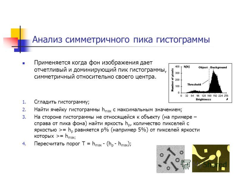 Анализ симметричного пика гистограммы Применяется когда фон изображения дает отчетливый и доминирующий пик гистограммы, симметричный относительно своего центра. 1. Сгладить гистограмму; 2. Найти ячейку гистограммы h max с максимальным значением; 3. Н