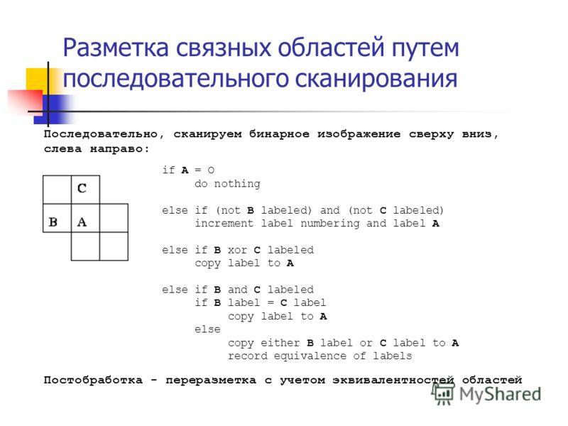 Разметка связных областей путем последовательного сканирования Последовательно, сканируем бинарное изображение сверху вниз, слева направо: if A = O do nothing else if (not B labeled) and (not C labeled) increment label numbering and label A else if B
