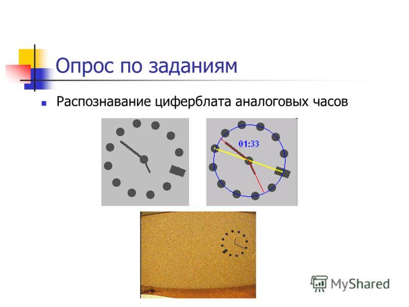 Опрос по заданиям Распознавание циферблата аналоговых часов
