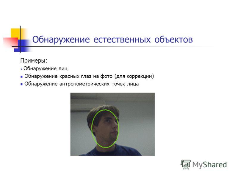 Обнаружение естественных объектов Примеры: Обнаружение лиц Обнаружение красных глаз на фото (для коррекции) Обнаружение антропометрических точек лица