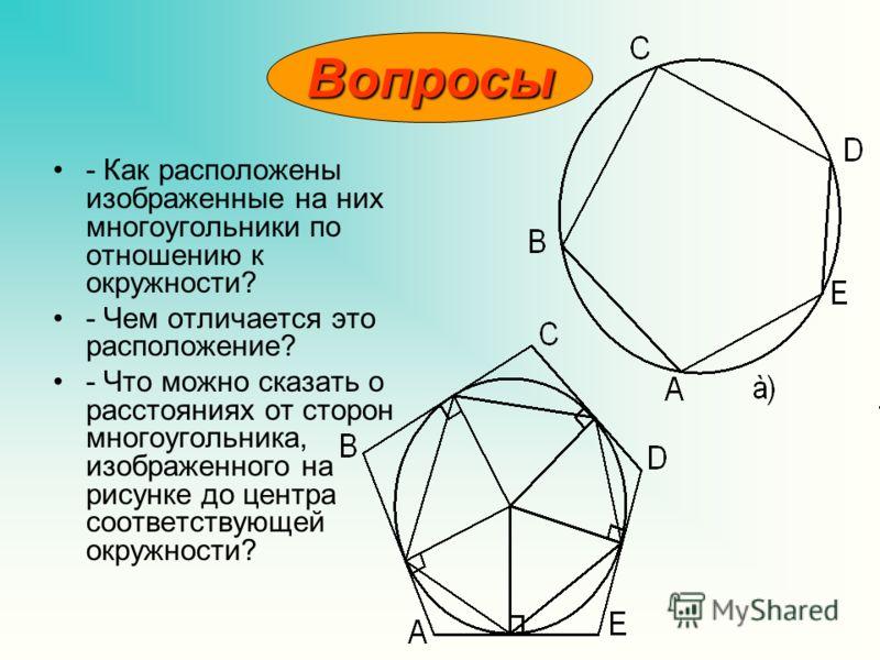 - Как расположены изображенные на них многоугольники по отношению к окружности? - Чем отличается это расположение? - Что можно сказать о расстояниях от сторон многоугольника, изображенного на рисунке до центра соответствующей окружности? Вопросы