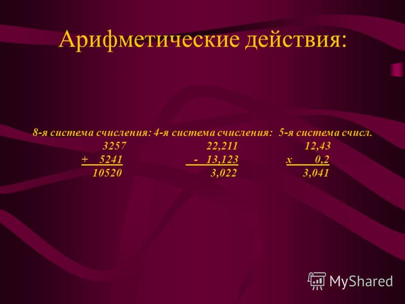 Арифметические действия: 8-я система счисления: 4-я система счисления: 5-я система счисл. 3257 22,211 12,43 + 5241 - 13,123х 0,2 10520 3,022 3,041