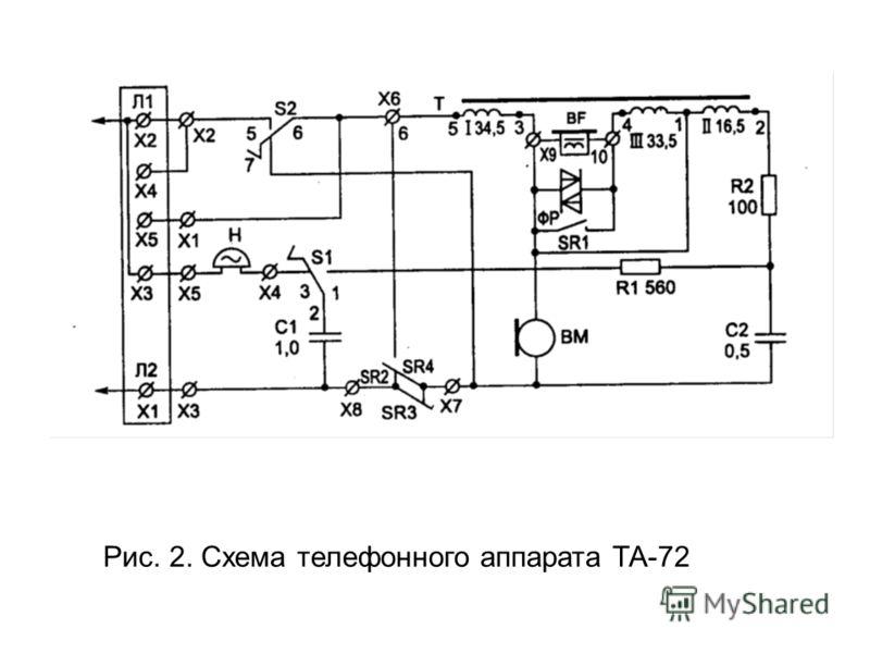 Рис. 2. Схема телефонного аппарата ТА-72
