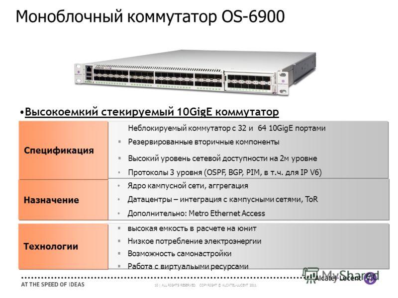 10 | ALL RIGHTS RESERVED. COPYRIGHT © ALCATEL-LUCENT 2011. Ядро кампусной сети, аггрегация Датацентры – интеграция с кампусными сетями, ToR Дополнительно: Metro Ethernet Access Назначение высокая емкость в расчете на юнит Низкое потребление электроэн
