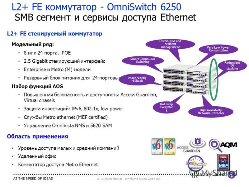 18 | ALL RIGHTS RESERVED. COPYRIGHT © ALCATEL-LUCENT 2011. L2+ FE коммутатор - OmniSwitch 6250 SMB сегмент и сервисы доступа Ethernet L2+ FE стекируемый коммутатор Модельный ряд: 8 или 24 порта, POE 2.5 Gigabit стекирующий интерфейс Enterprise и Metr