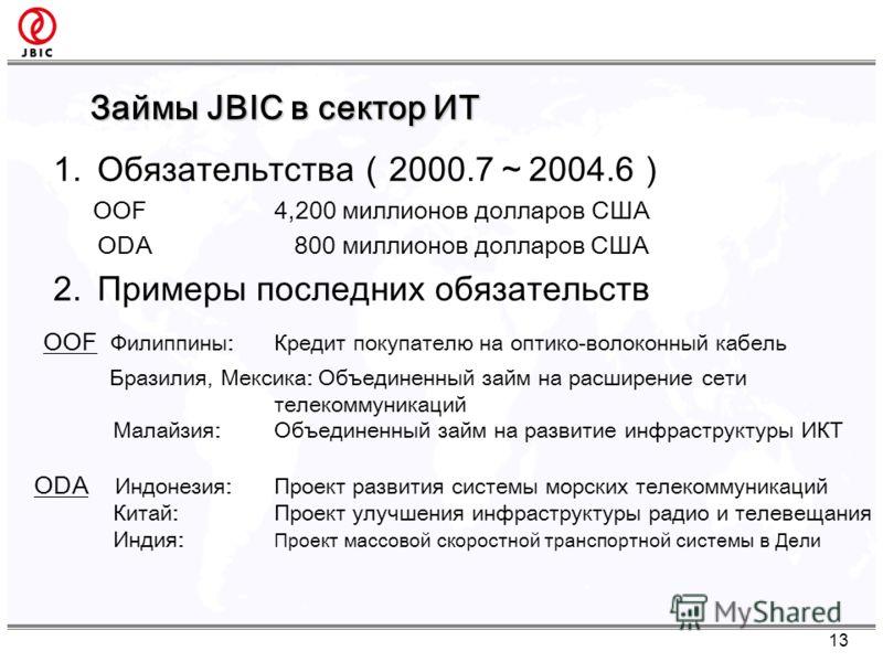 Займы JBIC в сектор ИТ 13 1.Обязательтства2000.72004.6 OOF 4,200 миллионов долларов США ODA 800 миллионов долларов США 2.Примеры последних обязательств OOF Филиппины: Кредит покупателю на оптико-волоконный кабель Бразилия, Мексика: Объединенный займ