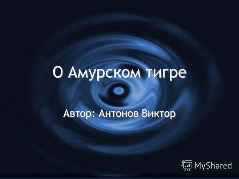 О Амурском тигре Автор: Антонов Виктор