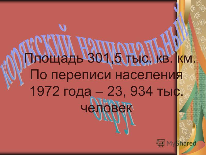 Площадь 301,5 тыс. кв. км. По переписи населения 1972 года – 23, 934 тыс. человек