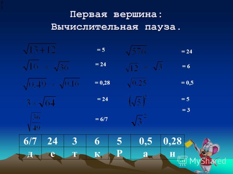 Первая вершина: Вычислительная пауза. 6/7243650,50,28 деткРан = 5 = 24 = 0,28 = 24 = 6/7 = 24 = 6 = 0,5 = 5 = 3