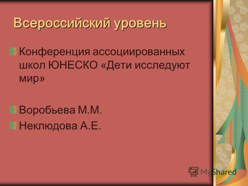 Всероссийский уровень Конференция ассоциированных школ ЮНЕСКО «Дети исследуют мир» Воробьева М.М. Неклюдова А.Е.