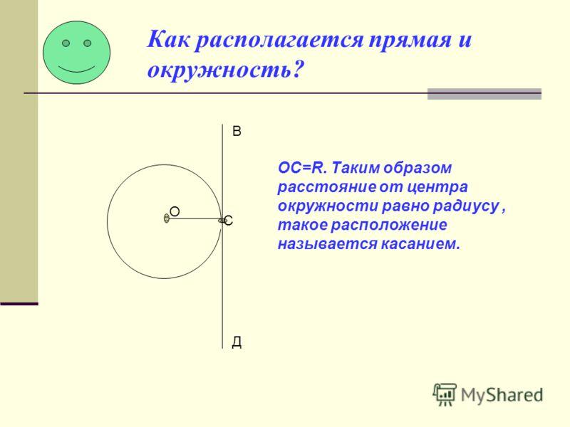 Как располагается прямая и окружность? О С В Д ОС=R. Таким образом расстояние от центра окружности равно радиусу, такое расположение называется касанием.