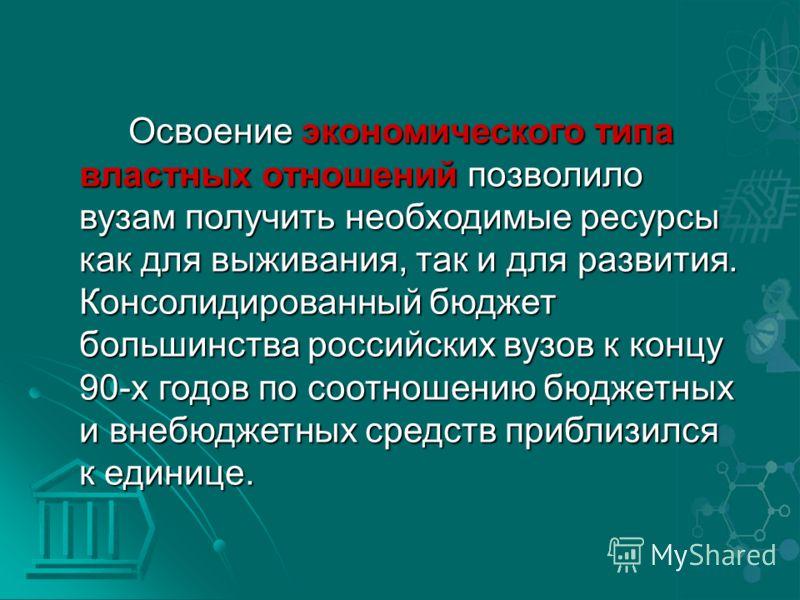 Освоение экономического типа властных отношений позволило вузам получить необходимые ресурсы как для выживания, так и для развития. Консолидированный бюджет большинства российских вузов к концу 90-х годов по соотношению бюджетных и внебюджетных средс
