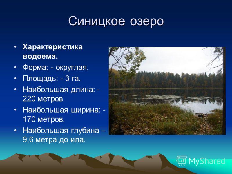 Синицкое озеро Характеристика водоема. Форма: - округлая. Площадь: - 3 га. Наибольшая длина: - 220 метров Наибольшая ширина: - 170 метров. Наибольшая глубина – 9,6 метра до ила.