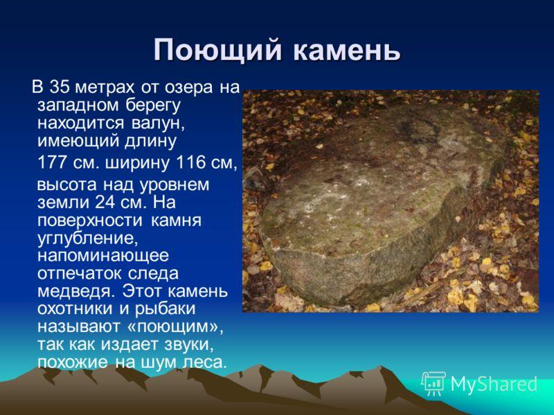Поющий камень В 35 метрах от озера на западном берегу находится валун, имеющий длину 177 см. ширину 116 см, высота над уровнем земли 24 см. На поверхности камня углубление, напоминающее отпечаток следа медведя. Этот камень охотники и рыбаки называют