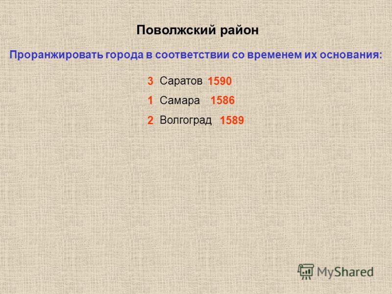 Поволжский район Проранжировать города в соответствии со временем их основания: Саратов Самара Волгоград 3 1590 2 1589 1 1586