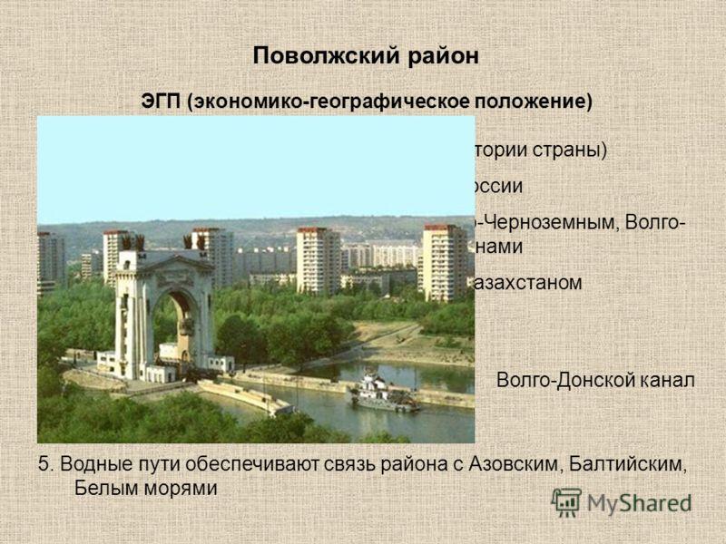 Поволжский район Площадь 536 000 км² (3,1% территории страны) 1. Находится на востоке Европейской части России 2. Граничит с Северо-Кавказским, Центрально-Черноземным, Волго- Вятским, Уральским экономическими районами 3. Имеет выход к государственной