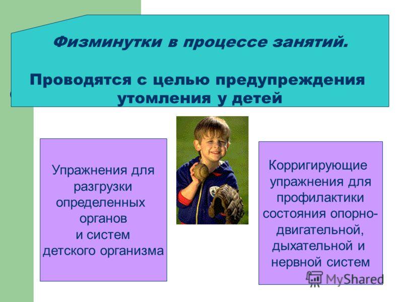 Физминутки в процессе занятий. Проводятся с целью предупреждения утомления у детей Упражнения для разгрузки определенных органов и систем детского организма Корригирующие упражнения для профилактики состояния опорно- двигательной, дыхательной и нервн