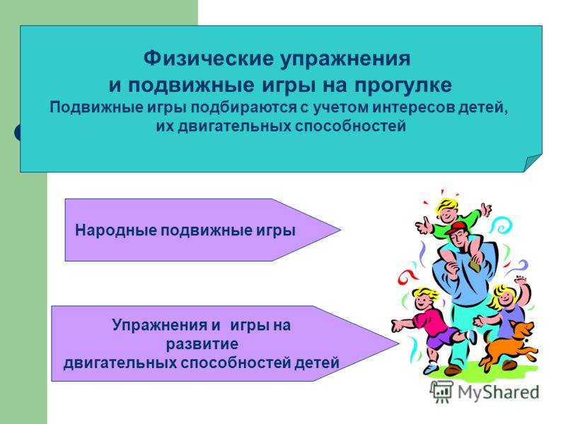 Физические упражнения и подвижные игры на прогулке Подвижные игры подбираются с учетом интересов детей, их двигательных способностей Народные подвижные игры Упражнения и игры на развитие двигательных способностей детей