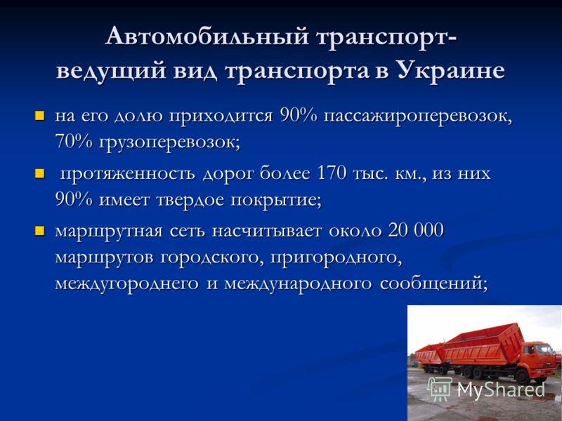 Автомобильный транспорт- ведущий вид транспорта в Украине на его долю приходится 90% пассажироперевозок, 70% грузоперевозок; на его долю приходится 90% пассажироперевозок, 70% грузоперевозок; протяженность дорог более 170 тыс. км., из них 90% имеет т