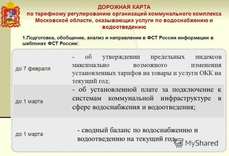 ДОРОЖНАЯ КАРТА по тарифному регулированию организаций коммунального комплекса Московской области, оказывающих услуги по водоснабжению и водоотведению до 7 февраля - об утверждении предельных индексов максимально возможного изменения установленных тар