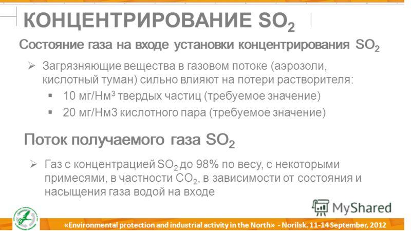 18 Milano, 18 Aprile 2012 «Environmental protection and industrial activity in the North» - Norilsk. 11-14 September, 2012 КОНЦЕНТРИРОВАНИЕ SO 2 Состояние газа на входе установки концентрирования SO 2 Загрязняющие вещества в газовом потоке (аэрозоли,
