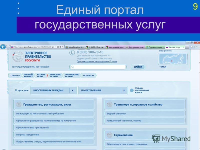9 Единый портал государственных услуг
