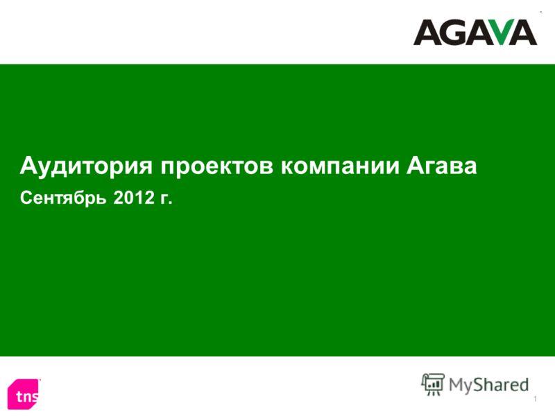 1 Аудитория проектов компании Агава Сентябрь 2012 г.