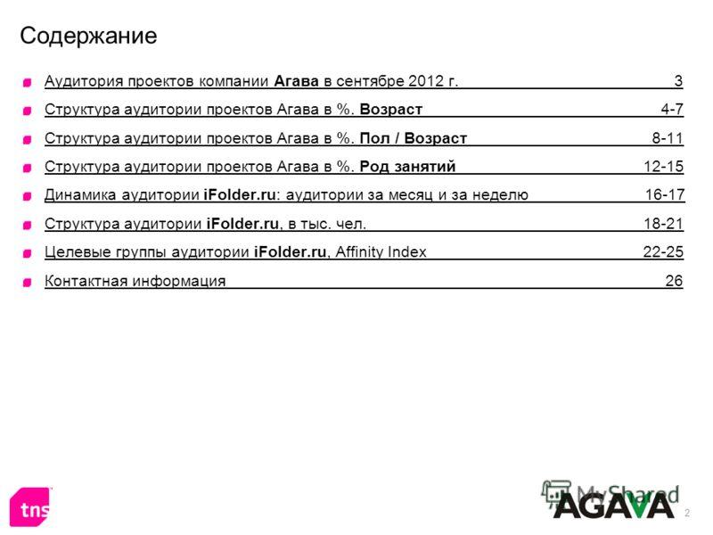 2 Содержание Аудитория проектов компании Агава в сентябре 2012 г. 3 Структура аудитории проектов Агава в %. Возраст 4-7 Структура аудитории проектов Агава в %. Пол / Возраст 8-11 Структура аудитории проектов Агава в %. Род занятий 12-15 Динамика ауди