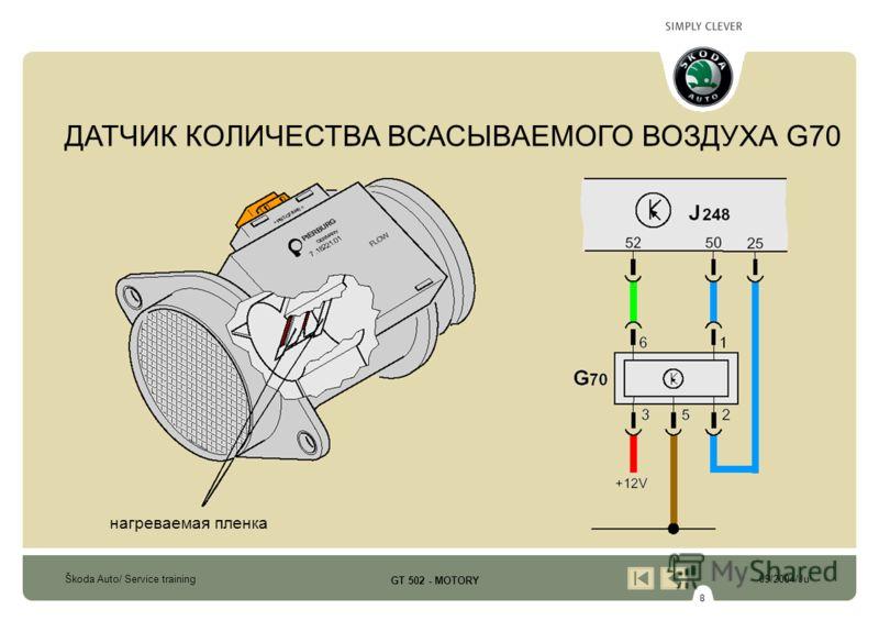 8 Škoda Auto/ Service training09/2004/Ju GT 502 - MOTORY нагреваемая пленка ДАТЧИК КОЛИЧЕСТВА ВСАСЫВАЕМОГО ВОЗДУХА G70