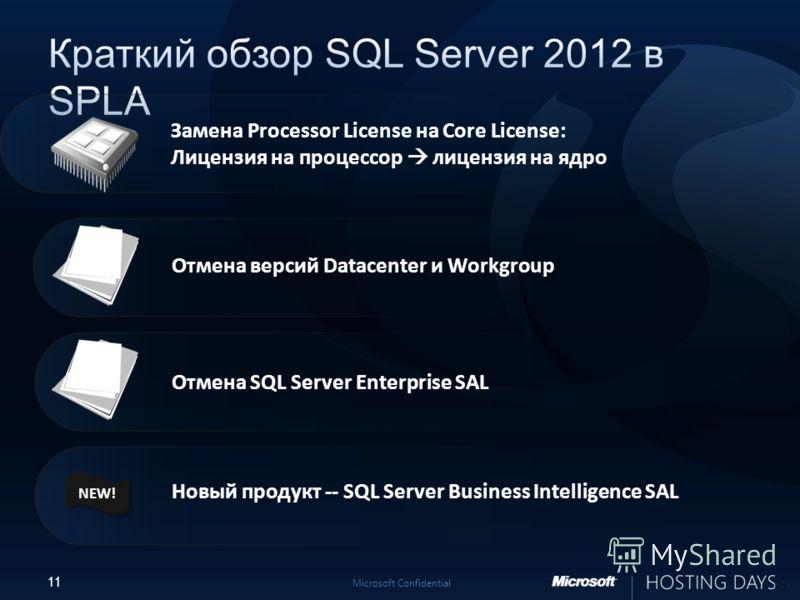 11 Microsoft Confidential Отмена SQL Server Enterprise SAL Новый продукт -- SQL Server Business Intelligence SAL 11 Отмена версий Datacenter и Workgroup Замена Processor License на Core License: Лицензия на процессор лицензия на ядро