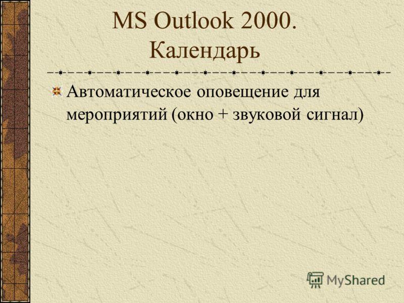MS Outlook 2000. Календарь Создание виртуальных собраний с использованием NetMeeting Аудио- и видеоконференции Общение в текстовом режиме Совместная работа с документами Совместная работа с графикой Передача файлов