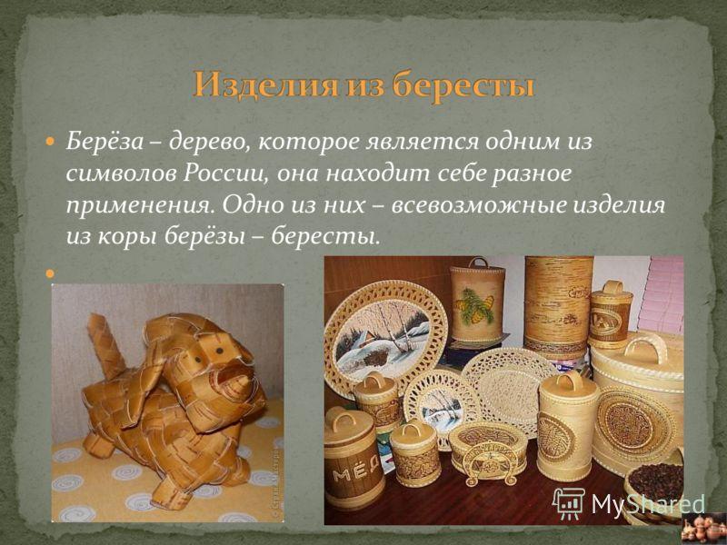 Берёза – дерево, которое является одним из символов России, она находит себе разное применения. Одно из них – всевозможные изделия из коры берёзы – бересты.