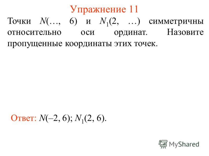 Упражнение 11 Точки N(…, 6) и N 1 (2, …) симметричны относительно оси ординат. Назовите пропущенные координаты этих точек. Ответ: N(–2, 6); N 1 (2, 6).