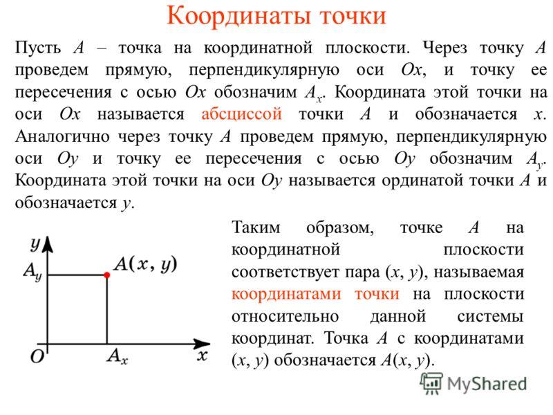Координаты точки Пусть A – точка на координатной плоскости. Через точку A проведем прямую, перпендикулярную оси Ox, и точку ее пересечения с осью Ox обозначим A x. Координата этой точки на оси Ox называется абсциссой точки A и обозначается x. Аналоги