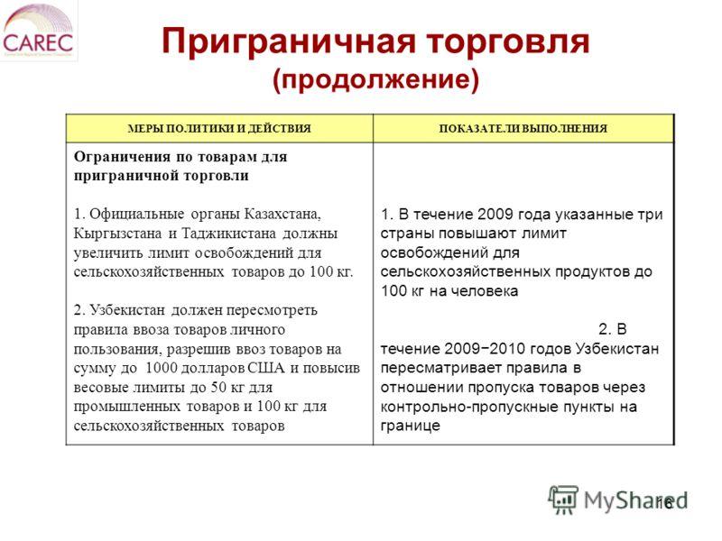 16 Приграничная торговля (продолжение) МЕРЫ ПОЛИТИКИ И ДЕЙСТВИЯПОКАЗАТЕЛИ ВЫПОЛНЕНИЯ Ограничения по товарам для приграничной торговли 1. Официальные органы Казахстана, Кыргызстана и Таджикистана должны увеличить лимит освобождений для сельскохозяйств