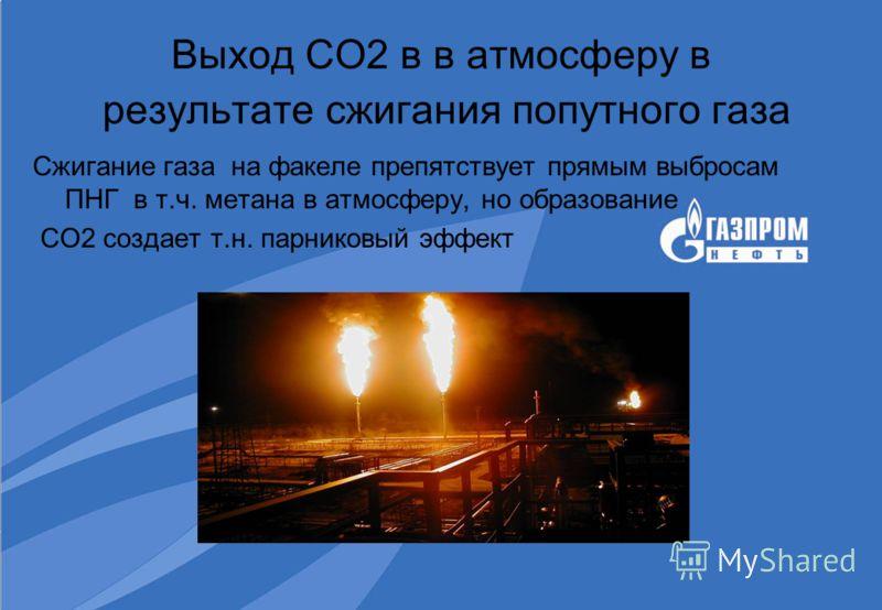 Выход СО2 в в атмосферу в результате сжигания попутного газа Сжигание газа на факеле препятствует прямым выбросам ПНГ в т.ч. метана в атмосферу, но образование СО2 создает т.н. парниковый эффект