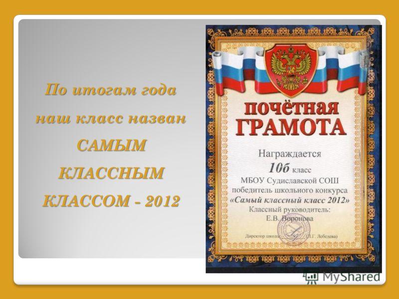 По итогам года наш класс назван САМЫМ КЛАССНЫМ КЛАССОМ - 2012