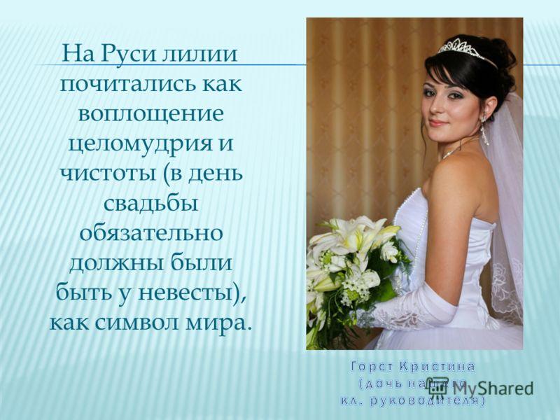 На Руси лилии почитались как воплощение целомудрия и чистоты (в день свадьбы обязательно должны были быть у невесты), как символ мира.