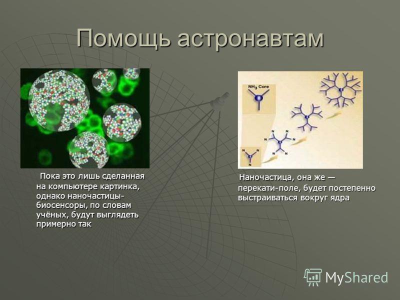 Помощь астронавтам Пока это лишь сделанная на компьютере картинка, однако наночастицы- биосенсоры, по словам учёных, будут выглядеть примерно так Пока это лишь сделанная на компьютере картинка, однако наночастицы- биосенсоры, по словам учёных, будут