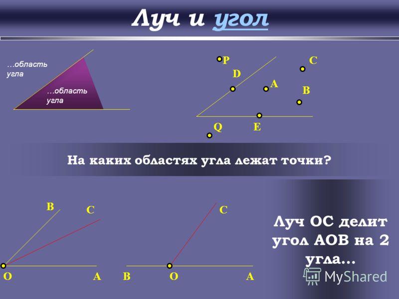 Луч и угол Угол – это геометрическая фигура, которая… O A B k h Угол Угол называется развернутым, если... pqС Развернутый угол