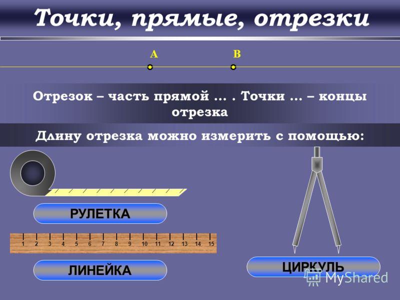 123456789101112131415 Прямая – множество точек, построенных с помощью линейки O a b Через любые две точки можно провести прямую, и … c d Две прямые либо имеют только … общую точку, либо …