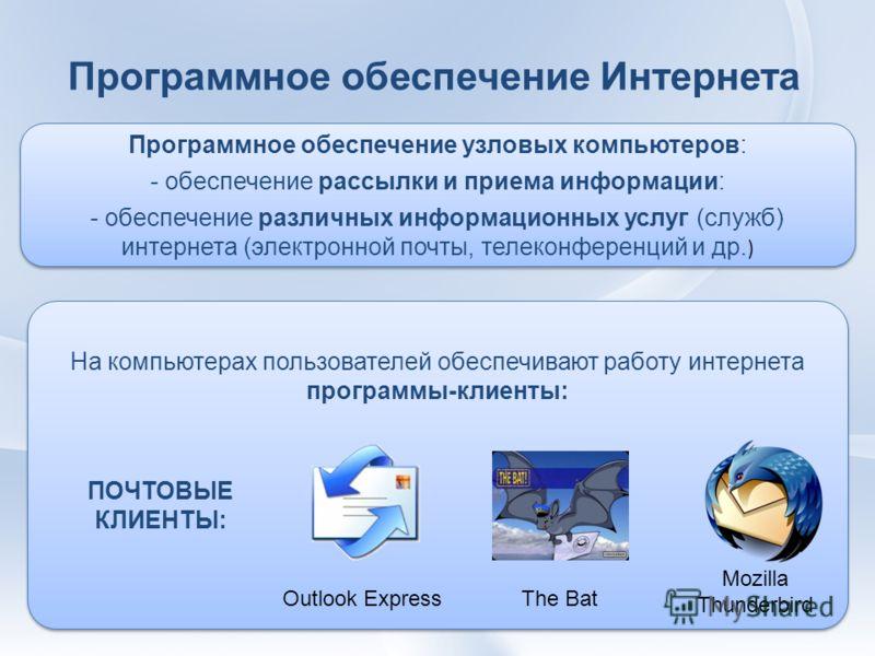 Программное обеспечение Интернета На компьютерах пользователей обеспечивают работу интернета программы-клиенты: ПОЧТОВЫЕ КЛИЕНТЫ: Outlook Express Mozilla Thunderbird The Bat Программное обеспечение узловых компьютеров: - обеспечение рассылки и приема