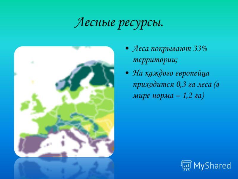 Лесные ресурсы. Леса покрывают 33% территории; На каждого европейца приходится 0,3 га леса (в мире норма – 1,2 га)