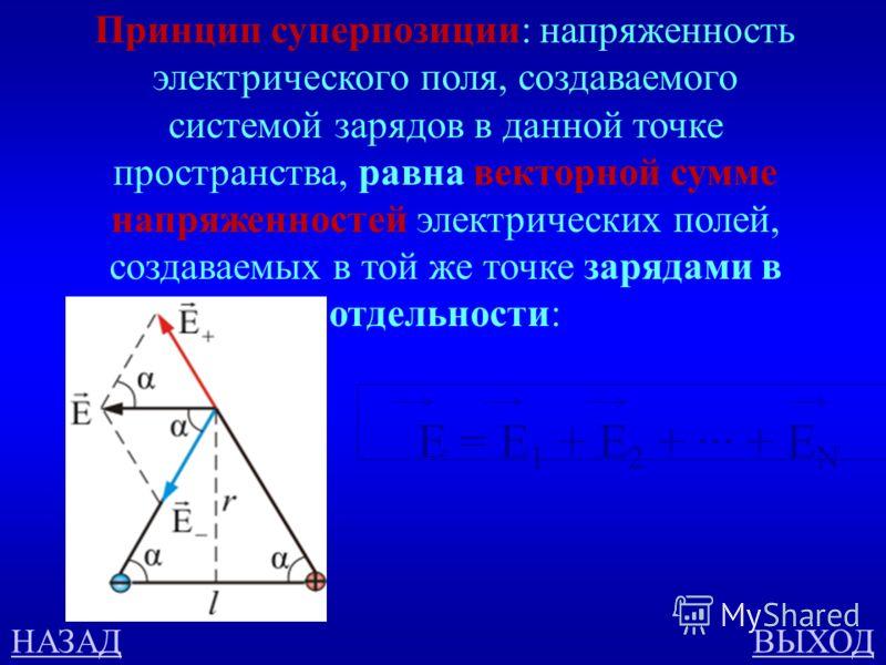 Напряжённость электрического поля 500 В чём состоит принцип суперпозиции полей? ответ Определите направление вектора напряженности в точке С + -- С