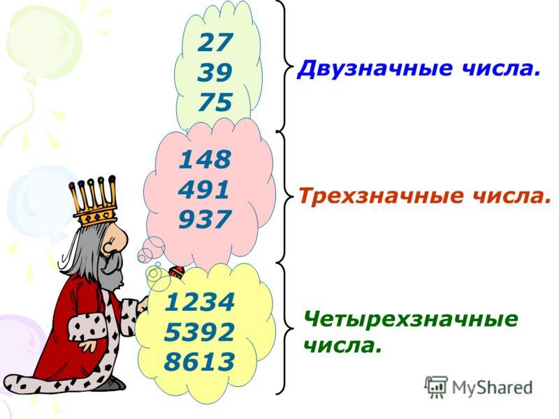 27 39 75 Двузначные числа. 148 491 937 Трехзначные числа. 1234 5392 8613 Четырехзначные числа.