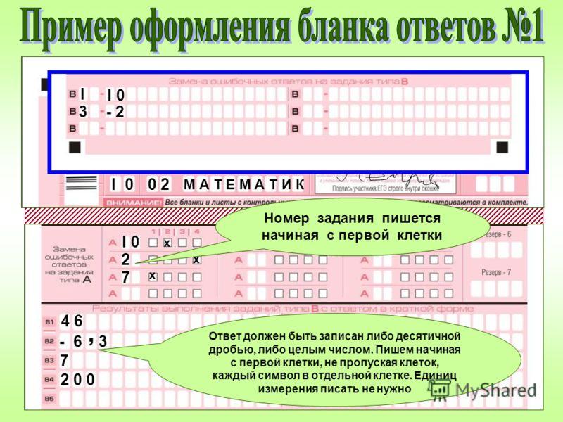 х х х 0 2I 0I 0 M А Т Е М А Т И К I 0 2 7 4 6 - 6- 6, 3 7 2 0 02 0 0 Номер задания пишется начиная с первой клетки Ответ должен быть записан либо десятичной дробью, либо целым числом. Пишем начиная с первой клетки, не пропуская клеток, каждый символ