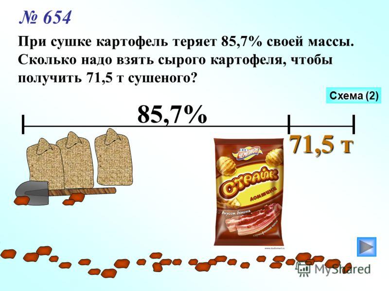 При сушке картофель теряет 85,7% своей массы. Сколько надо взять сырого картофеля, чтобы получить 71,5 т сушеного? 85,7% 71,5 т Схема (2) 654