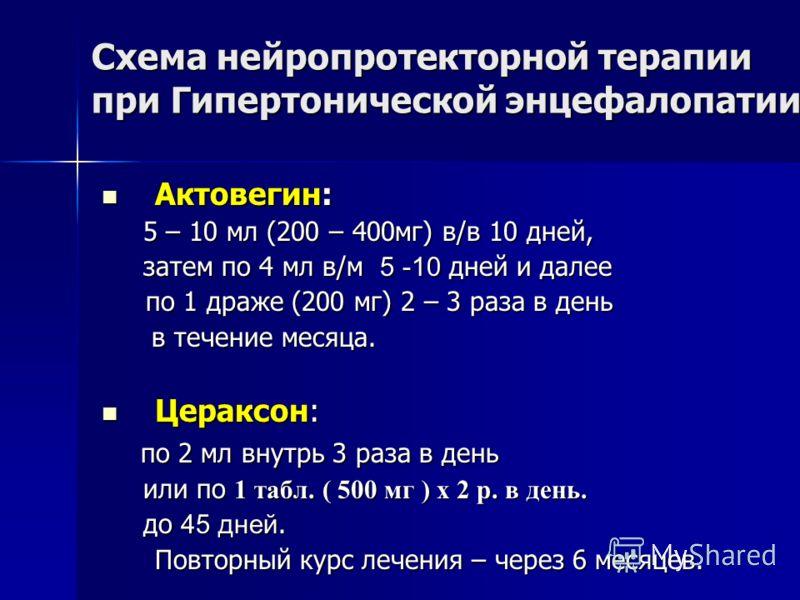 Схема нейропротекторной терапии при Гипертонической энцефалопатии Актовегин: Актовегин: 5 – 10 мл (200 – 400мг) в/в 10 дней, 5 – 10 мл (200 – 400мг) в/в 10 дней, затем по 4 мл в/м 5 -10 дней и далее затем по 4 мл в/м 5 -10 дней и далее по 1 драже (20